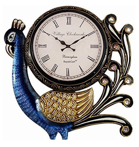 royalscart Village de pared (pavo real reloj de pared analógico estándar azul