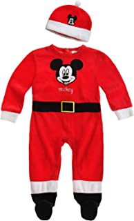 Disney Mickey Strampler Mütze, Velours, rot, Gr. 62-92