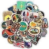 Etitulaire Stickers Vintage, 50 Pcs Autocollant Sticker en Vinyle pour Décorer Sticker pour Moto/Ordinateur Portable/Vélo/Skateboard/Masque