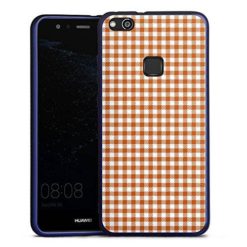 Huawei P10 lite Silikon Hülle Blau Case Schutzhülle Karo Picknick Decke
