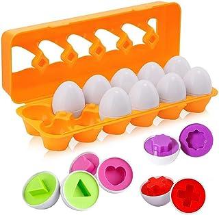 BYBOT 12 Piezas Rompecabezas de Huevos Color y Forma