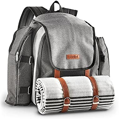 VonShef 4 Person Premium Outdoor Picnic Backpack Bag with Blanket – Woven Grey Waterproof Finish, Includes 29 Piece Dining Set & Insulated Cooler Compartment to Keep Food Chilled