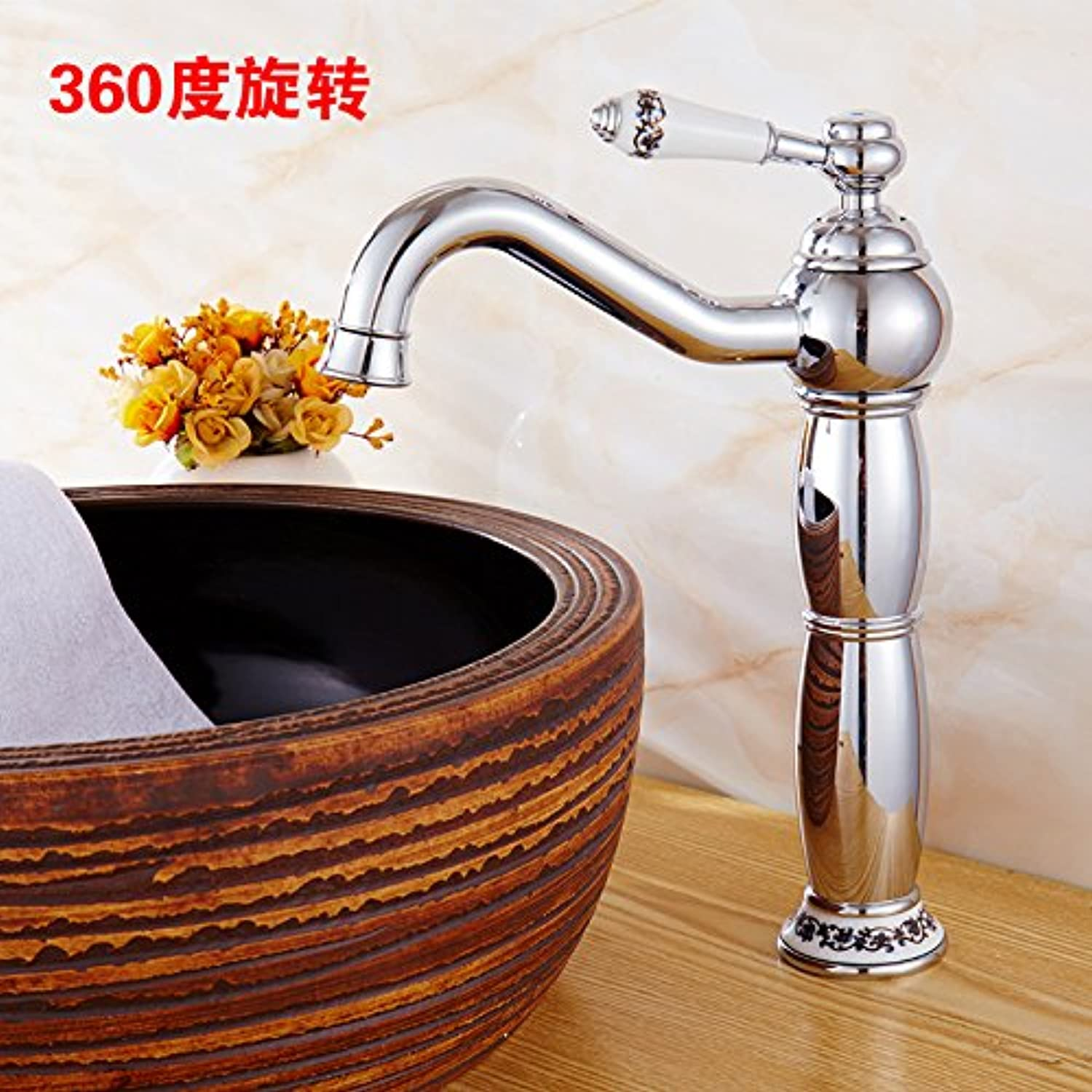redOOY Faucet Taps golden Faucet Hot And Cold Faucet Copper Bathroom With High bluee And White Porcelain Counter Basin gold-Plated Antique Faucet, Silver bluee And White Porcelain redation Heightening