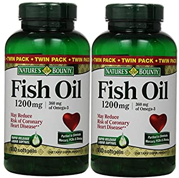 Fish Oil by Nature s Bounty Dietary Supplement Omega-3 Supports Heart Health 1200 mg Twin Packs 360 Rapid Release Liquid Softgels