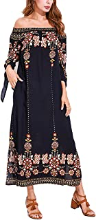 Celmia Women Sexy Off Shoulder Floral Print Tie Sleeve Split Maxi Long Dress