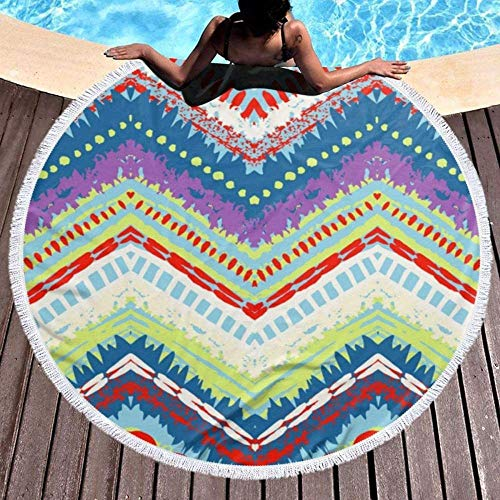 HYZDR Telo Mare Rotondo,Lenzuola da Bagno in Microfibra Stampante 3D Extra Large Tappetini da Meditazione Assorbenti per L'Acqua in Cerchio con Tappetino da Yoga Originale Tribale