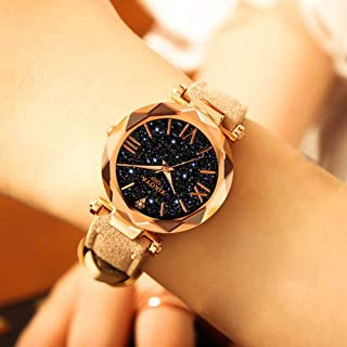 Placextre Women Luminous Quartz Watches Starry Sky Dial Masonry with Frosted PU Leather Band