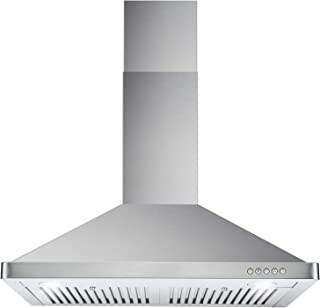 Cosmo 63175 30-in Wall-Mount Range Hood 760-CFM Ductless Convertible Duct Kitchen Chimney-Style Over Stove Vent LED Light, 3 Speed Exhaust Fan, Permanent Filter, (Stainless Steel)