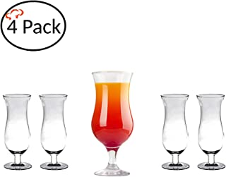 Tiger Chef Polycarbonate Shatter-Proof Reusable Stain Resistant Drinking Glasses Serve Liquor Wine Alcohol Beer Shots Cocktails Margarita Water Heavy Duty Cups Tumblers (4 Pack, Hurricane 24 Oz)