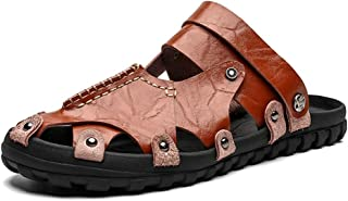Xujw-shoes, Mens Summer Beach Slippers Outdoor Water Shoes Walking Fisherman Sandals Fashion Leather Cushioning Closed Toe Cutout Dual-use Antislip Back Strap