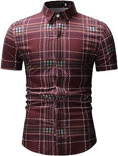 Qiyun Autumn Shirt Men Spring Summer Short Sleeve Plaid Casual Slim Shirt Tops
