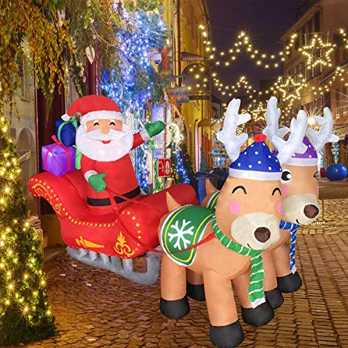 ZALALOVA ChristmasInflatableDecorations, 7Ft Christmas Inflatable Santa on Sled with Two Cute Reindeer Blow up LED Lights for Indoor Outdoor Yard Lawn Xmas Decoration