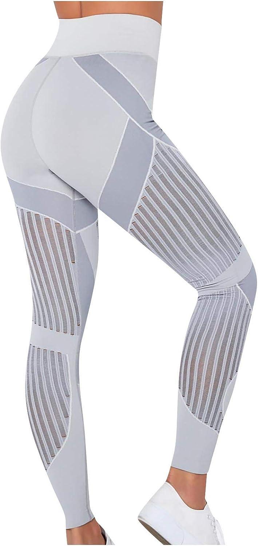 Rickitrty Women's Mesh Yoga Pants High Waist Max Sacramento Mall 67% OFF Control Tummy 4 Wa