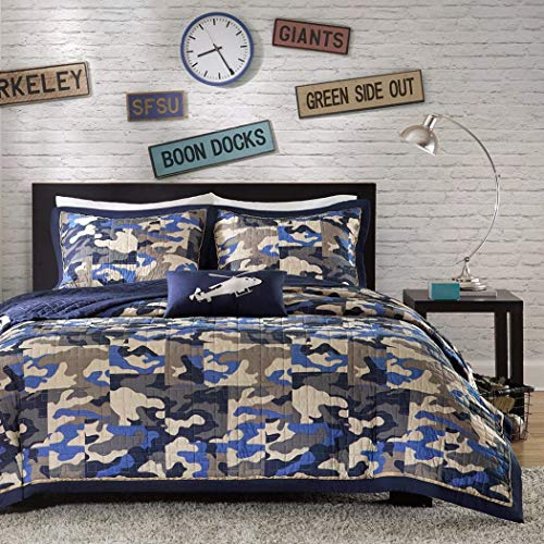 DH 4 Piece Kids Boys Grey Blue Camouflage Coverlet Full Queen Set, Army Camo Bedding Navy Cream Gray Colors Military Pattern Abstract Helicopter Pillow Teen Childrens, Polyester
