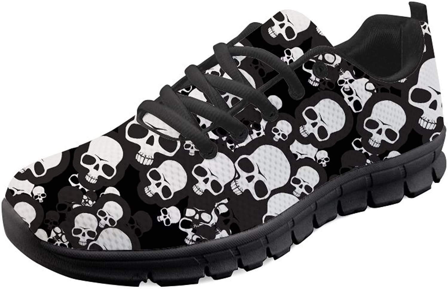 Doginthehole Skull Print Women Sneakers Leisure Lace up Mesh Sport Running shoes
