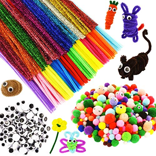 822 Pieces Kids Art & Craft Supplies Set DIY Activities & Parties Pipe Cleaners Craft Set 200 Pcs Pipe Cleaners 434 Pcs Pom Poms 188 Pcs Wiggle Eyes Self Adhesive