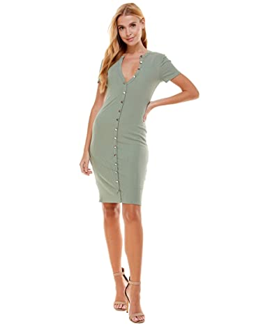 Bebe Button Front Lace-Up Back Rib Dress