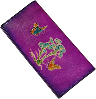 BPLeathercraft Genuine Leather Checkbook Cover, Flower Cited Butterflies Pattern, More Color Choice. (Purple)