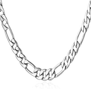U7 Jewelry Figaro Chain Wear Alone or Match Pendant, with Custom Engrave Service,Width 3mm/5mm/8mm/9mm/12mm 18K Gold Plated or Stainless Steel Necklace, 16-32 Inch