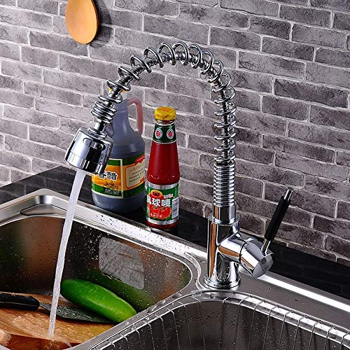 IBalodys - Grifo mezclador para fregadero de cocina con boquilla giratoria y resorte con un solo agujero, latón pulido
