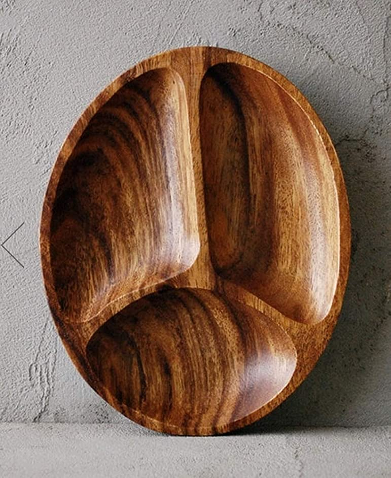Premium Acacia Wooden 3-Compartment Divided Oval Wood Plate Divided Dessert Dish Serving Trays Platters 3 Section