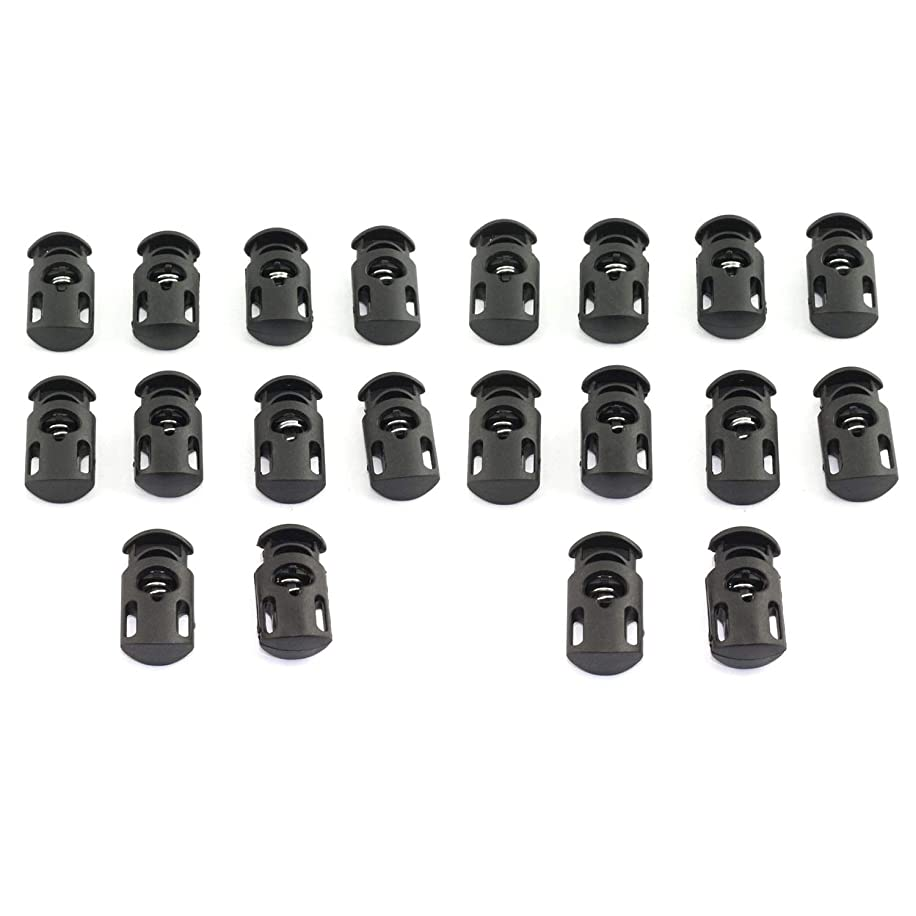 RuiLing 20-Pack 15x28mm Cord Locks Black Nylon Plastic End Spring Stop Toggle Sliders