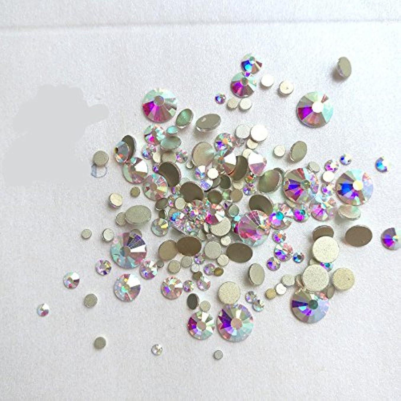 無臭締め切り不良ガラス製ラインストーン クリスタルAB 各サイズ選択可能(4.8mm (SS20) 約1440粒) [並行輸入品]