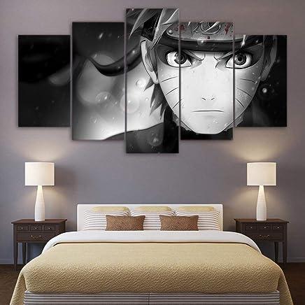 SCLWFJ Impression Sur Jet Du0027encre HD Sur Toile 5 Panneaux Peinture Manga  Japonaise Naruto
