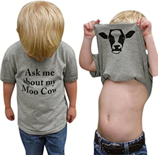 Sagton Summer Ask me About My moo Cow, Toddler Kids Baby Boys T-Shirt Short Sleeve Tops Tees