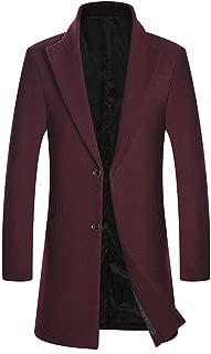 zeetoo Men's Classic Peacoat Wool Blend Slim Fit Trench Coat Overcoat 9011 Wine Red