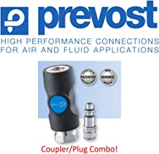 """(1) Prevost ISI, 1/4"""", Industrial Profile, Safety, Compressed Air, Coupler/Air Fitting, (1) Male Threaded Plug COMBO, 3 YR LEAK FREE WARRANTY – Retail Clip Packaged"""