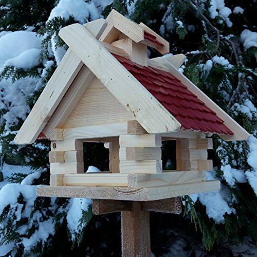 Vogelhaus Futterhaus Vogelhäuschen –Wetterschutz– K Block Rot Holz Vogelhäuser - 3
