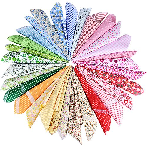AONER (50 x 50 cm) 30 Stück 5 Farbsystem Patchwork Stoffe 100% Baumwolle Bunte Baumwollstoff Set Stoffpaket DIY Baumwolltuch Stoffreste Paket Stoffpakete