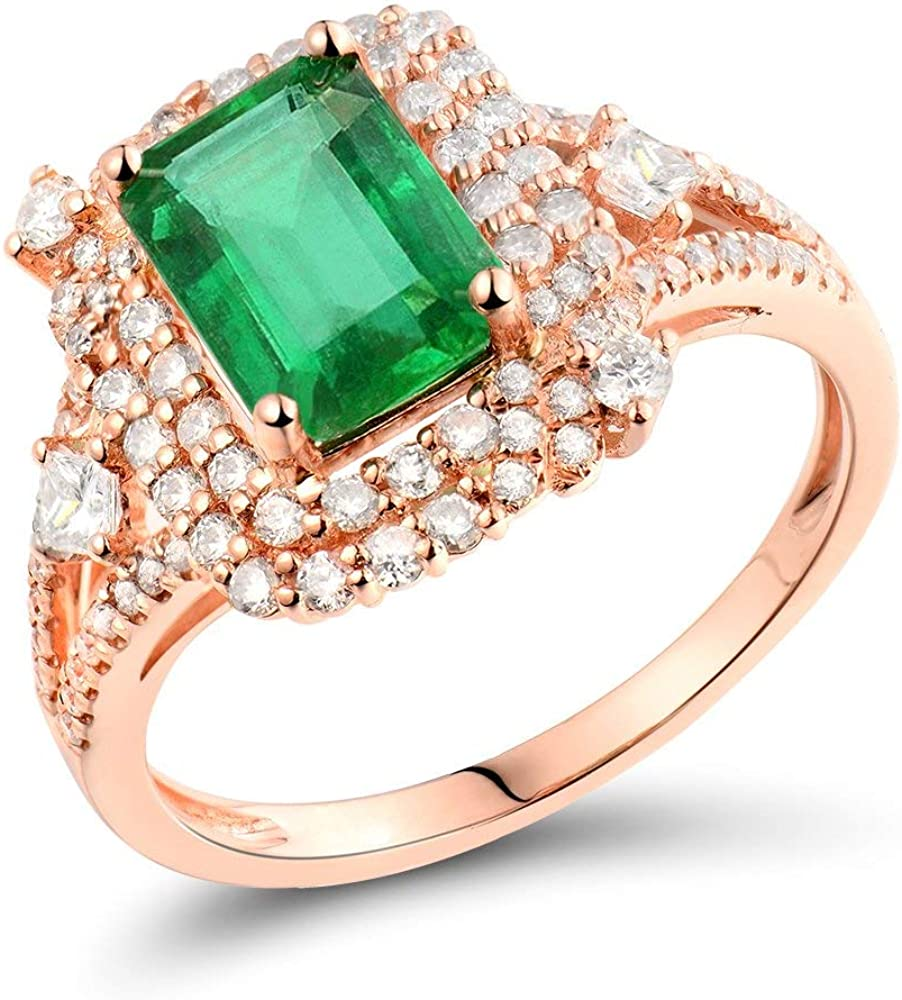 Lanmi Solid 14K Rose Gold Natural Diamonds Don't miss the campaign Green En Ring Emerald Houston Mall