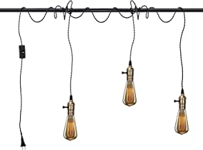 Vintage Pendant Light Kit Cord with Switch and Triple E26 E27 Industrial Light Socket Lamp Holder 25FT Twisted Black Cloth Bulb Cord Plug in Hanging Light Fixture