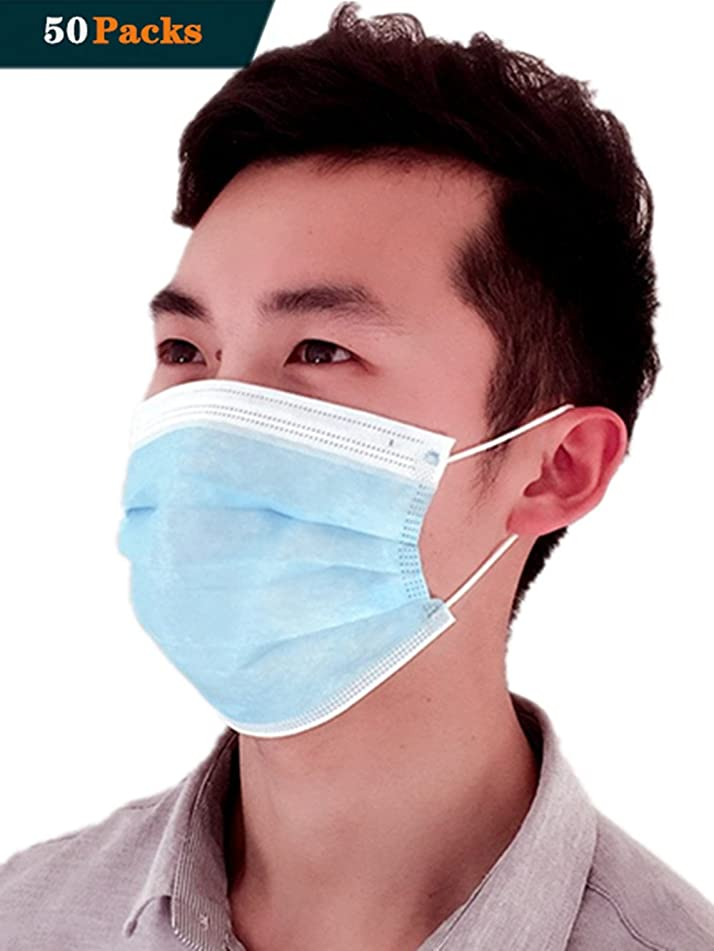 Medical Disposable Mouth Mask Antiviral Face Mask (Solid-Blue)