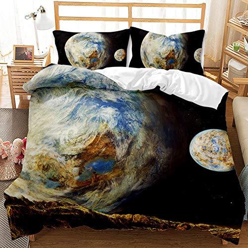 fashionZHY Planet Galaxy Juego de Cama de Tres Piezas con impresión 3D, Funda nórdica, Juego de Funda nórdica, Funda nórdica Individual/Doble, Funda nórdica y Funda de Almohada