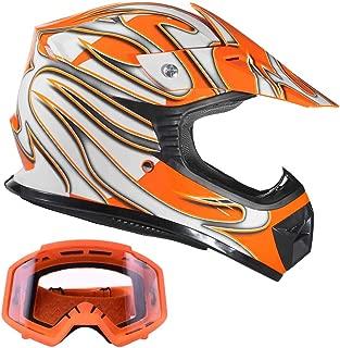 Typhoon Kids Youth ATV Motocross BMX Helmet & Goggles Gear Combo - Orange (Large)