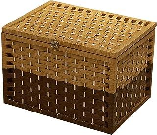 Boîte de Rangement Panier de Rangement Panier de rangement avec couvercle Boîte de rangement tissée simple Boîte à cosméti...