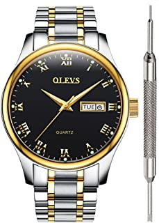 OLEVS Men Women Quartz Business Watch with Stainless Steel Band, Classic Waterproof Watches Roman Numeral