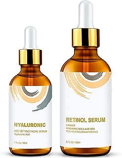 Wumal Retinol Serum 2.5% and Hyaluronic Acid Serum - Anti Aging Facial Serum 2 Pack Set - Improve Skin Texture & Glow, Reduce Wrinkles, Fine Lines, Prevent Sun Damage
