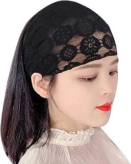 Kalaokei Chemo Turbante para el cáncer de las mujeres de las mujeres a través de encaje floral elástico ancho de la cabeza banda de la banda para el pelo bandana, lazo, negro