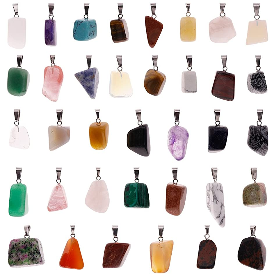Keyzone 60 Pieces Irregular Healing Stone Pendants Charms Crystal Chakra Beads for DIY Necklace Jewelry Making, Assorted Color