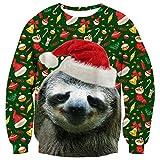 ALISISTER Hässliche Weihnachtspullover Herren Personalisierte Faultier Grafik Ugly Christmas Sweater Winterurlaub Festival Rundhals Weihnachten Pullover Sweatshirt L