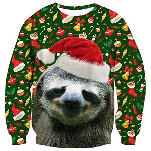 ALISISTER Unisex Hässliche Weihnachtspullover Kuscheliger Faultier Muster Ugly Christmas Sweater Erwachsene Teenager Festival Weihnachten Pullover Sweatshirt für Xmas Party XL
