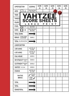 "Yahtzee Score Sheets Large Print: 120 Score Pads for Scorekeeping Yatzee dice game paper score sheets   8.5"" x 11"" (yahtze..."