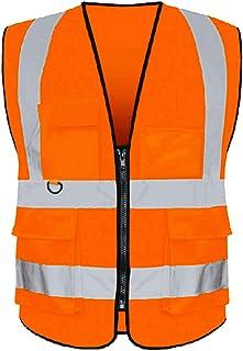 Reflective Vest Class 2 Safety Vests ANSI with 5 Pockets Zipper High Visibility Construction Uniform