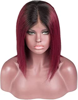 Lace Front Wig Brazilian Short Bob human hair wigs women,T1B/Burgundy,14inches,United States,150%