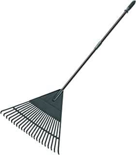 ORIENTOOLS Garden Leaf Rake, Adjustable Lightweight Steel Handle Poly Shrub Rake, Plastic Head, 22 Tines, 42 to 60 inches (Black Handle)