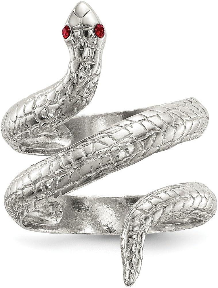 激安 激安特価 送料無料 Solid 限定特価 925 Sterling Silver Ring Crystal 3.92mm Snake